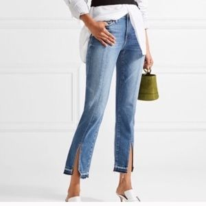 Frame Denim split hem high rise straight jeans
